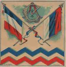 """""""BLEU AUX DRAPEAUX FRANCO-RUSSE / C.A. Dole"""" Etiquette-chromo originale fin 1800"""