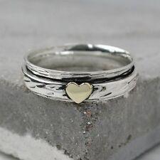 Spinner Ring Sterling Silver & brass heart band ring thumb finger