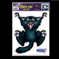 Funny Window Car Cling CRAZY BLACK ATTACK CAT Witch Decal Sticker Decoration-NEW