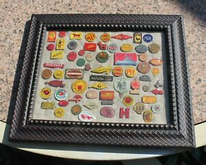Framed Lot of  Antique Tobacco tin  tags  65*