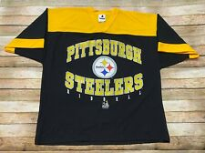 Vtg 90s PITTSBURGH STEELERS Jersey Shirt Riddell NFL Football Black USA MADE XL