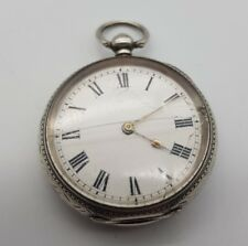 Antique Solid Silver Ladies Foliate Engraved Fob Pocket Watch Working Condition