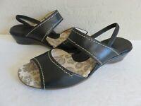 Pikolinos Sling Back Sandals Black Leather Womens 8M