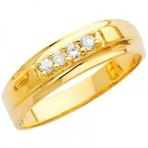 14K Solid Yellow Gold .20 Ct Simulated Diamond Wedding Band Polished Men's Ring
