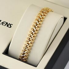 "18K Yellow Gold Filled 12MM Women /Men's Bracelet Bangle Chain 8""Link GF Jewelry"
