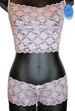Liliy European Floral Lace Camisole Vest Longline Bra & Brief set Wire free 8 10