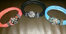 unisex soft leather chameleon noosa chunk snap button bracelet - surfer goth emo