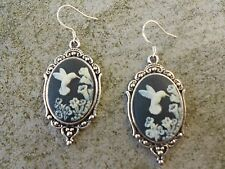 *CAMEO HUMMINGBIRD EARRINGS!!!  (BLACK) .925 silv. stamped hooks!!! QUALITY!!!!