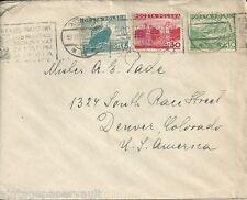 1936 POLAND TO USA COVER / SCOTT  # 295, 296, & 299  MACHINE CANCELED