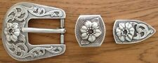 """Western Rodeo Tack Raised Flower Bridle SCHNALLE Set for 1"""" Wide Leather"""