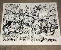 GREEN LANTERN CORPS VS. SINESTRO SPLASH CENTERFOLD INKED PAGES BY MIKE SELLERS