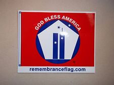 "GOD BLESS AMERICA 9-11 REMEMBRANCE FLAG 4""x5"" DECAL STICKER WORLD TRADE CENTER +"