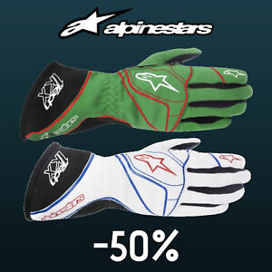 ALPINESTARS TECH 1-KX Karting Gloves Green, White kart race CLEARANCE SALE STOCK