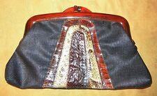 Vintage Denim Waxed Linen Snakeskin Hand Bag Purse Clutch Bakelite Frame Navy