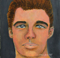 Minature Art Oil Painting Original Male Portrait by Katie Jeanne Wood