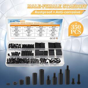350pcs M3 Spacer Nylon Black Hex Screw Nut Standoff PCB Assortment Box Kit