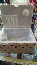 Sewing box padded top with handle spot design navy and cream