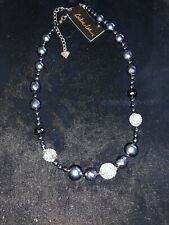 New Cookie Blue Glass Pearls Necklace Ret. $24