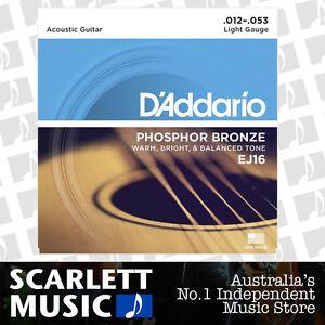 D'Addario EJ16 Phosphor Bronze Light Acoustic Strings 12-53 Daddario EJ-16