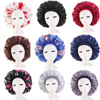 US Extra Large Long Hair Care Satin Bonnet Cap Night Sleep Hat Head Wrap Cover