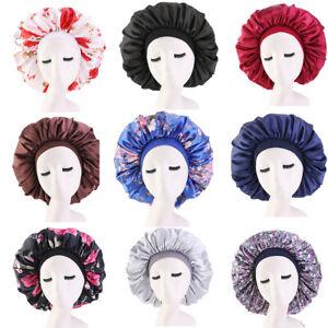 US Extra Large Long Hair Care Satin Bonnet Cap Night Sleep Hat Head Wrap Cover