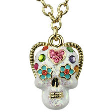 NEW KIRKS FOLLY PETITE SUGAR SKULL NECKLACE GOLDTONE