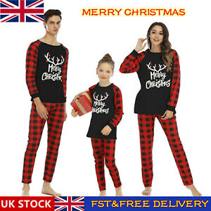 Family Matching Adult Kids Christmas Pyjamas Nightwear Xmas Sleepwear PJs Set #