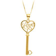 """14k Oro Amarillo Amor clave encanto del corazón Colgante Con 18 """"chain-Regalo De San Valentín"""