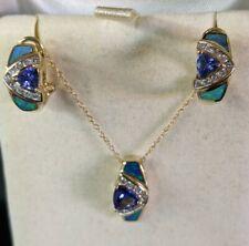 14k yellow gold LeVian Tanzanite, Diamond and Opal  Pendant & Earring & chain !!