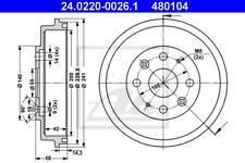 2x Bremstrommel für Bremsanlage Hinterachse ATE 24.0220-0026.1