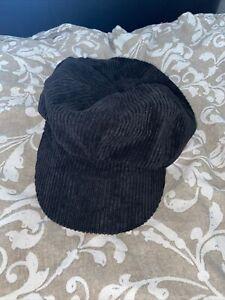 Womens Black Suede Baker Boy Hat
