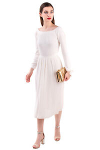 RRP €1760 GABRIELA HEARST Silk Knitted A-Line Dress Size XS Ribbed Long Sleeve