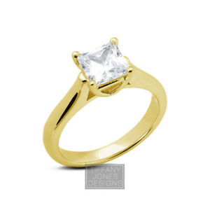 3/4ct D SI2 Princess Natural Certified Diamond 14k  Solitaire Engagement Ring