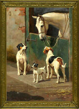 "Old Master Art Antique Oil Painting Wildlife Portrait Animal Horse Dogs 24""x36"""