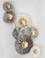 672773 Wanddeko Kreise 104 x 48cm aus lackiertem Metall mit Durchbruch