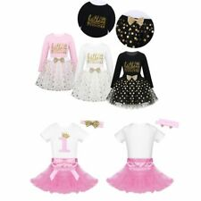 Kids Girls Birthday Dress Party Short Sleeves Romper Glittery Tutu Skirts Outfit