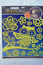 Room Decor Night Glow Wandtattoo Eule Blumen leuchtend 14 Stück 30,5 x 30,5 cm