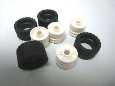 New Genuine Lego parts lot of 4 Black Tire 24 x 14 Shallow Tread w/ white wheel