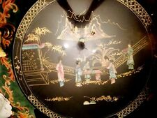 VINTAGE ORIENTAL JAPANESE MOTHER OF PEARL BLACK WOOD LACQUER TEA TABLE & 4 CHAIR