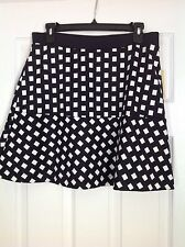 Michael Kors Navy & White Check Skirt Size 10 NWT MSRP $79.50