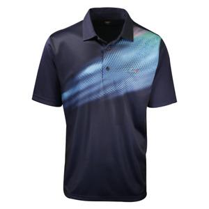 Greg Norman Men's Deep Blue Sea Wave S/S Polo Shirt