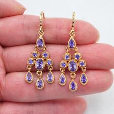 18K Yellow Gold Filled Women Royal Purple Topaz Palace Chandelier Earrings
