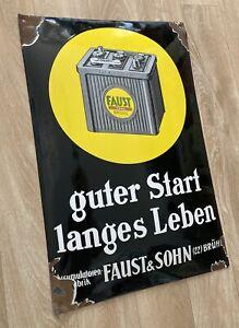 Emailschild Faust Brühl 1930 Schild Batterie Oldtimer Emaille Kein Varta