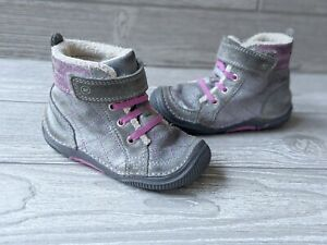 Stride Rite SRT Phoebe Leather Boots Gray Toddler Size US 7