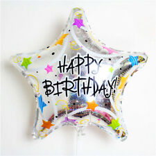 "Happy Birthday silver star foil balloon  47.5cm x 45cm  18"" x 19"" holographic"