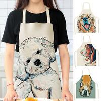 Women Men Cotton Linen Kitchen Aprons Unisex Cute Dog Printed Cooking Apron 1pc