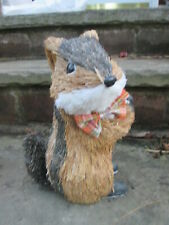 Chipmunk Striped Straw Figure Large Country Winter Animal Plaid Bow Tie New Gift