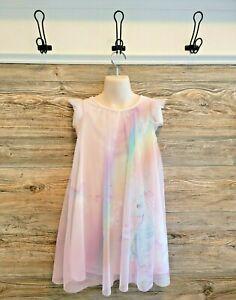 H & M Girl's Pink Unicorn Butterfly Rainbow Tulle Swing Dress Sz. 7-8 EUC