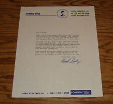 1968 Ford Shelby Cobra GT 350 500 Customer Letter Sheet Brochure Carroll 68