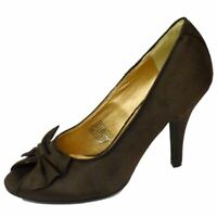LADIES SLIP-ON BROWN SATIN PEEP-TOE COURT STILETTO EVENING SHOES SIZES 3-8